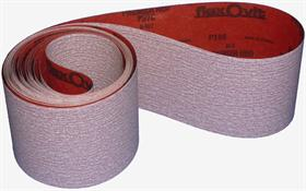 Aluminium oxide+stearate resin paper, B-wt, open coat.  Excellent finishing. - Abrasive paper belt, light backing, suitable for water lacquers and polyester     sanding and finishing.