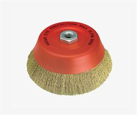 Cup brush, crimped wire, thread M14. -