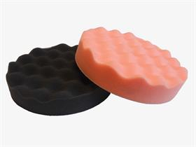 Hard  (orange). Velcro corrugated pad. - For polishing all lacquered surfaces (boat, automotive and furniture industry). Corrugated to facilitate the pad cooling during the polishing operations