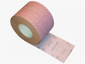 Velcro aluminium oxide+stearate resin paper, B-weight, open coat. - Velcro abrasive paper roll, antistatic, for lacquered woodworking and automotive.