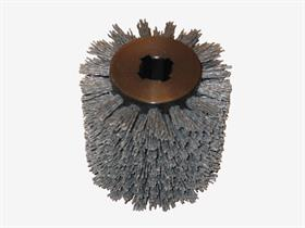 Nylon thread wheel for satin finishing. - Nylon thread wheel for woodworking to point out wood grains.